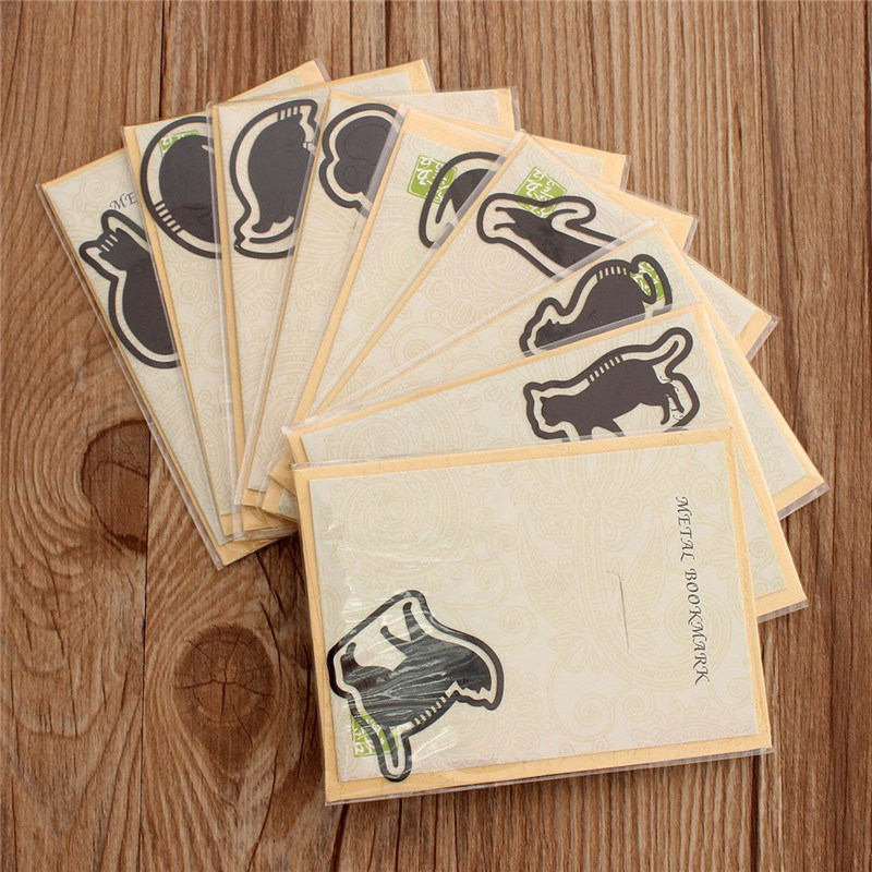Promotion 9 Pcs Various Cute Kitty Mini Metal Bookmarks Black Lacquer Cat for Book Kids Gift Stationery Office Supplies Hollow(China (Mainland))