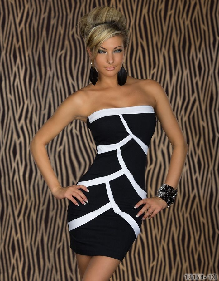 Strapless Black With White Striped Sexy & Club Dresses 2016 Autumn Women Dresses(China (Mainland))