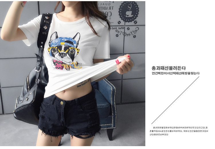 2016 casual fashion t shirt women gun&dog printed t-shirt summer short sleeve plus size rock punk tees woman tops(China (Mainland))