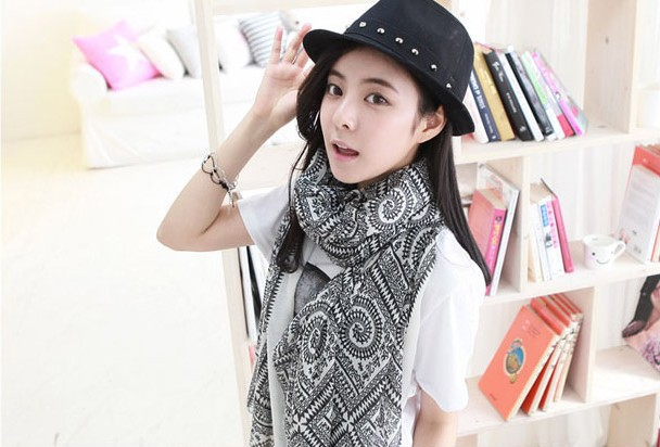 1PC 100 180cm bohemian style multi circle printed long retro cotton blend scarves WJ 186