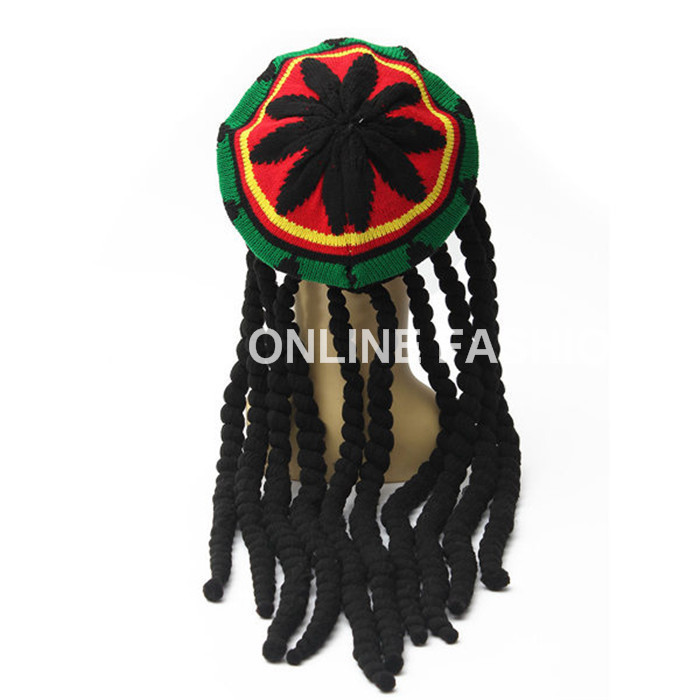 Hot Sales Rasta Hat Beanies Knitted Hats Beret Crochet Slouchy Tam Bob Marley Reggae Jamaica Style With Dreadlocks Wigs Unisex(China (Mainland))