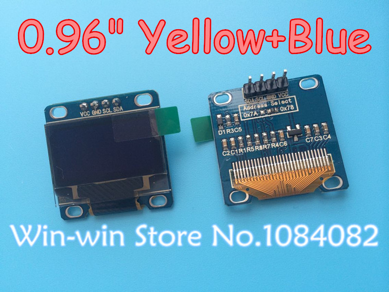 """Yellow, blue double color 128X64 0.96 inch OLED LCD LED Display Module For Arduino 0.96"""" IIC SPI Communicate(China (Mainland))"""