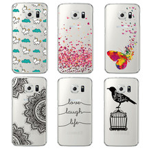 Mandala Unique Butterfly Love Words Paint Soft TPU Clear Phone Case Capa Coque For Samsung Galaxy S6 Edge S6 Plus Fashion Cover