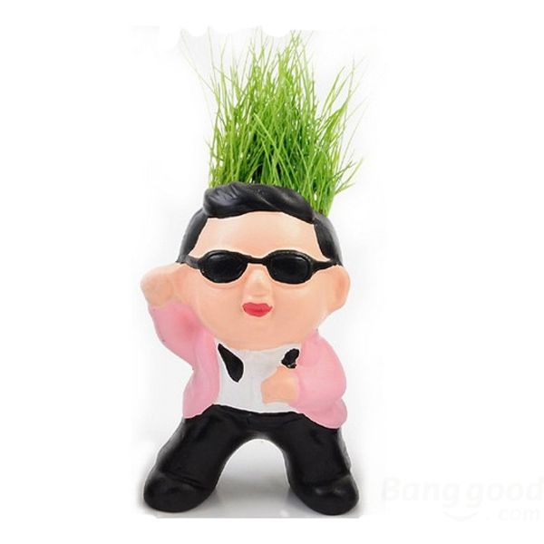 DreamSpace Small Grass Doll Hair Men DIY Potted Plants Ceramic Garden Pots(China (Mainland))