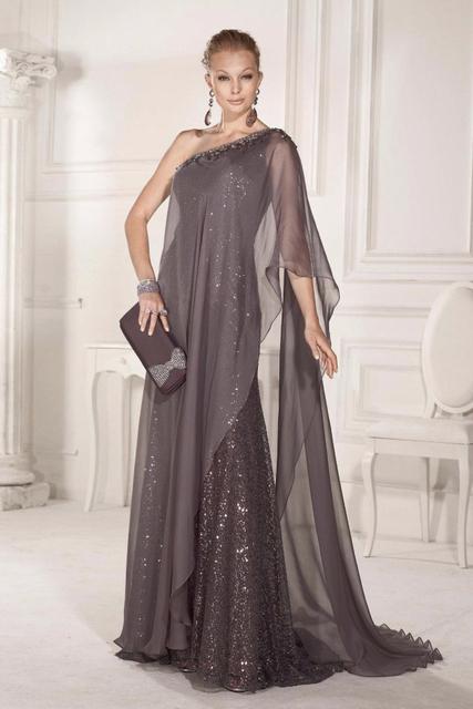 Великолепная элегантный русалка вечерние платья блестками шифон одно плечо бисером ...