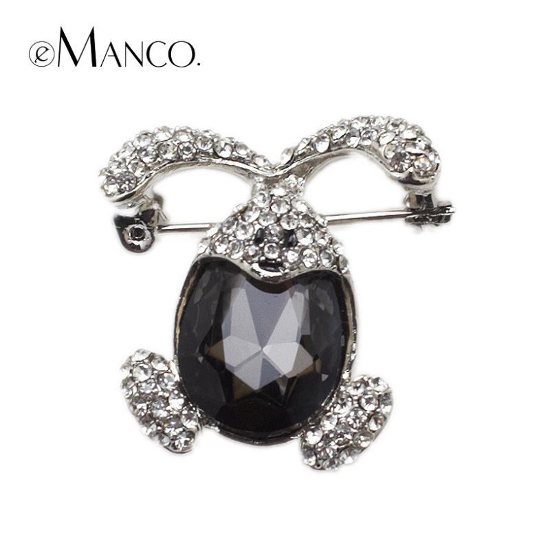 luxury Large black crystal Big rabbit brooches eManco 2016 New High Quality Fashion bijoux Creative Christmas gift BR02777(China (Mainland))