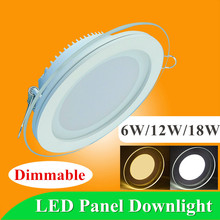 Dimmable llevó la luz del Panel Downlight redondo de vidrio Panel 6 W 12 W 18 W ahuecó las luces SMD 5630 LED Paine lámparas AC85-265V(China (Mainland))