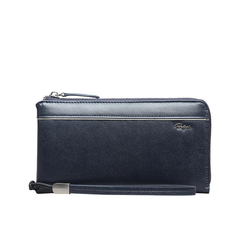 2015 Men Fashion Business Genuine Leather Cowhide Casual Zipper Clutch Wallet Purse Blue<br><br>Aliexpress
