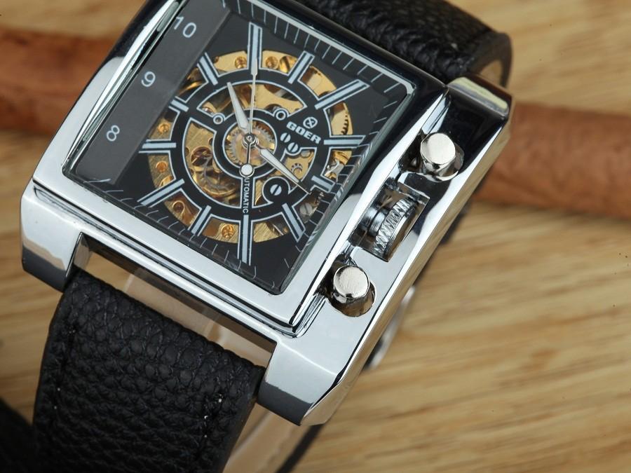 GOER марка Автоматические механические мужские Наручные часы Цифровые Часы Площади мужские Часы Кожа водонепроницаемый Световой Скелет