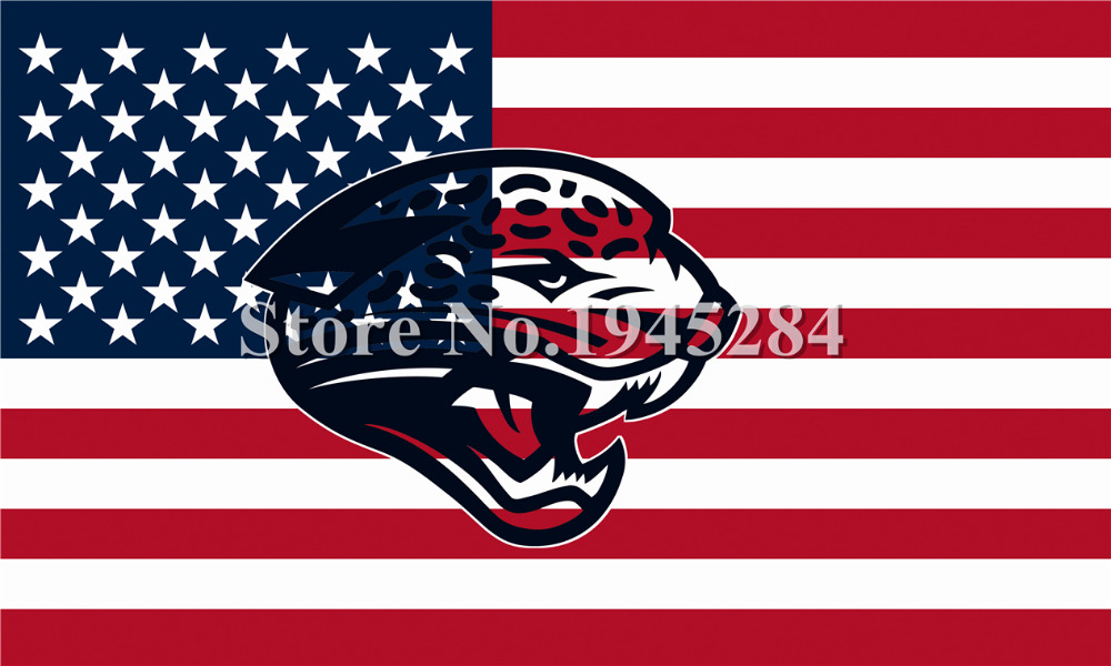 NFL Jacksonville Jaguars Hollow Out Shape With US Flag New 3x5ft 150x90cm 100D Polyester Flag Banner, free shipping(China (Mainland))
