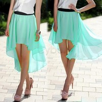 New Fashion Women's Chiffon Pleated Retro Asymmetrical Swallow Tail Short Elastic Waist Skirt 35