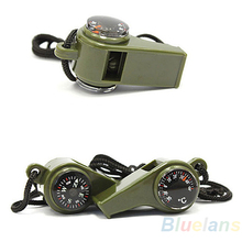 new3 in 1 Outdoor Camping Hiking Emergency Survival Gear Whistle Compass Thermometer(China (Mainland))