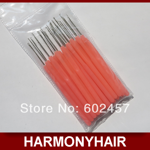 Free shipping 100 piece Plastic wooden handle threader loop hook needle pulling needle for micro hair extensions tools<br><br>Aliexpress