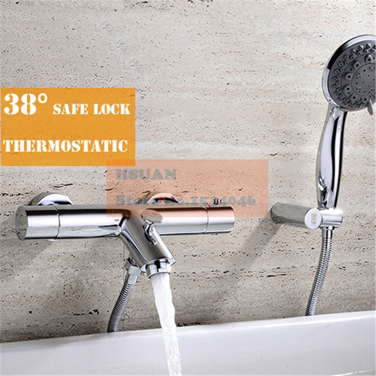In wall bathroom bathtub brass material thermostatic control shower bath faucet valve with handle spray shower and accessories(China (Mainland))