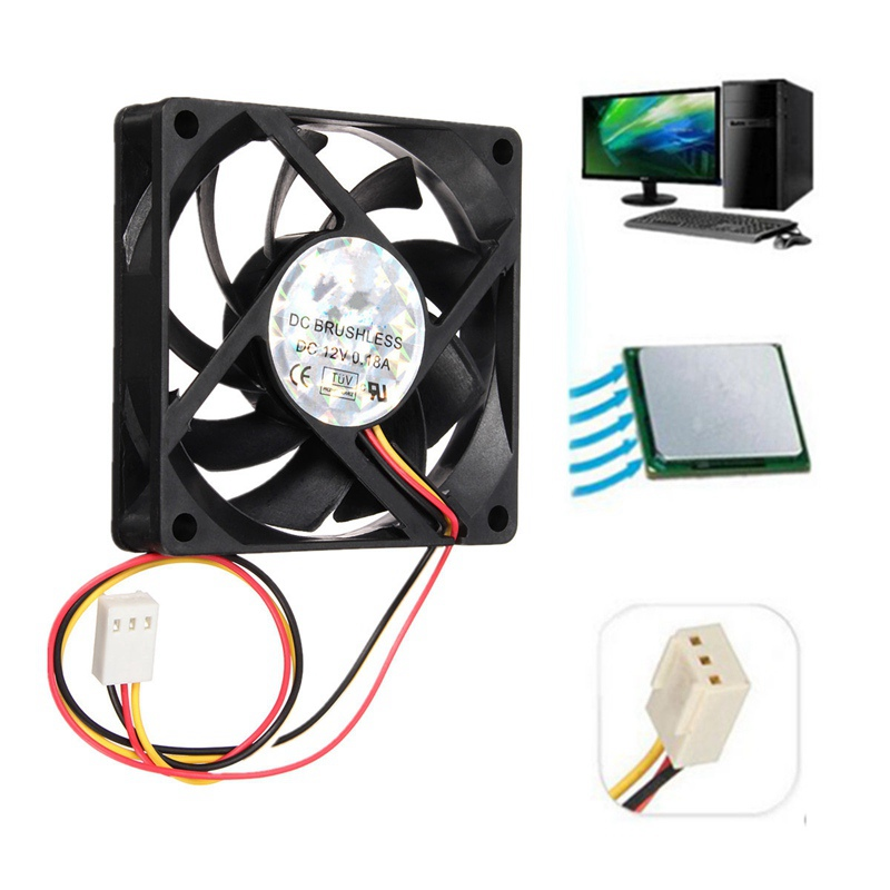 70*70*15mm DC 12V 3Pin Internal Desktop Computer CPU Case Cooling Cooler Silent Fan 7cm(China (Mainland))