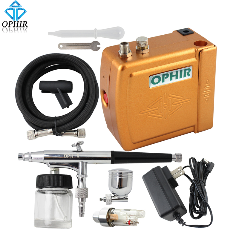 OPHIR DC 12V Airbrush Compressor Set 0.3mm Dual Action Airbrush Kit with Air Compressor Makeup Nail Art Paint_AC003+AC005+AC011(China (Mainland))