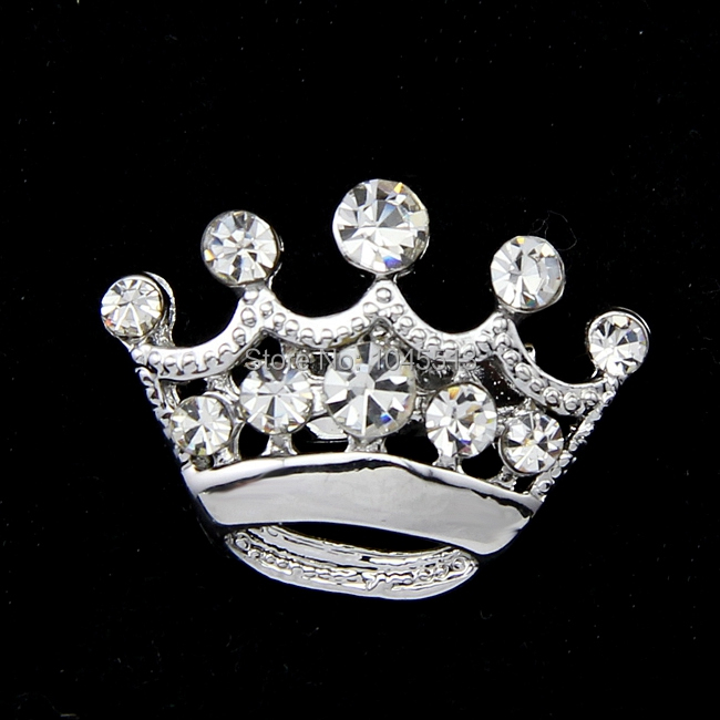 Lastest Stylish Small Brooch Crown Brooch Gold or Silver Plated Crystal Collar Brooches Jewelry for Clothing S-008(China (Mainland))