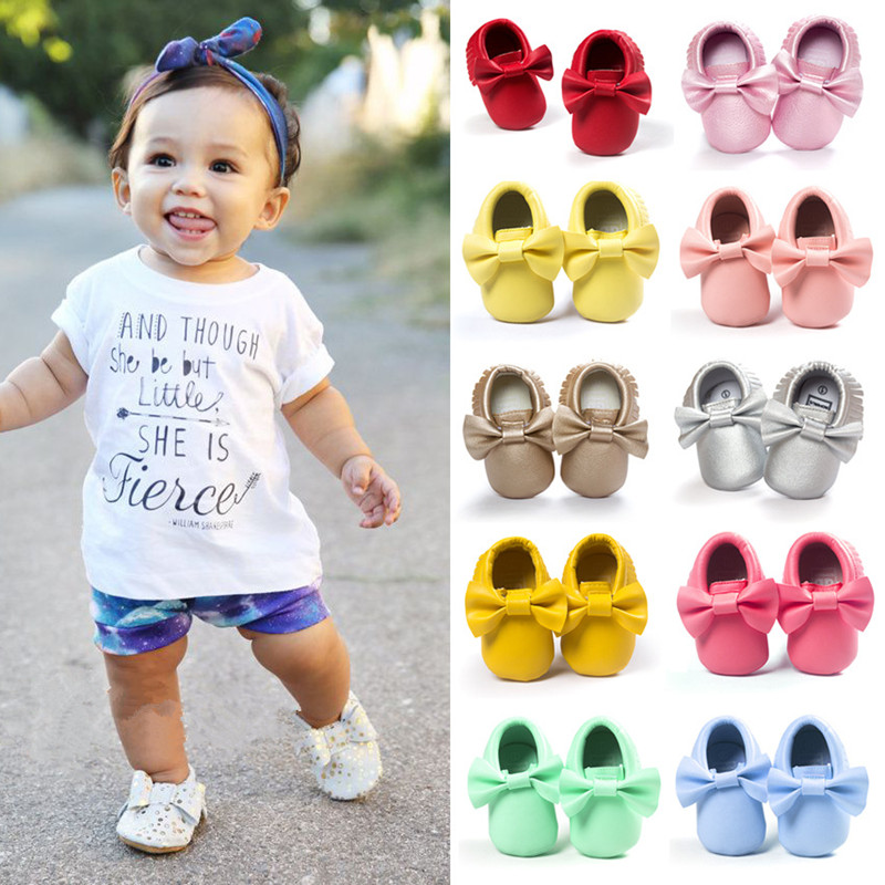 Handmade Soft Bottom Fashion Tassels Baby Moccasin Newborn Babies Shoes 14-colors PU leather Prewalkers Boots(China (Mainland))