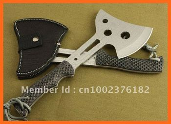 Multi-function combination Hunting Axe,Survival Camping Hunting knife,with leather sheath,stainless steel Free Shipping