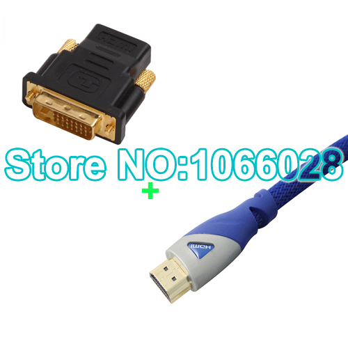 Free shipping (1.5M/4.9FT) 1PCS high quality HDMI Cable+1PCS hdmi Female to DVI Male adapter(China (Mainland))