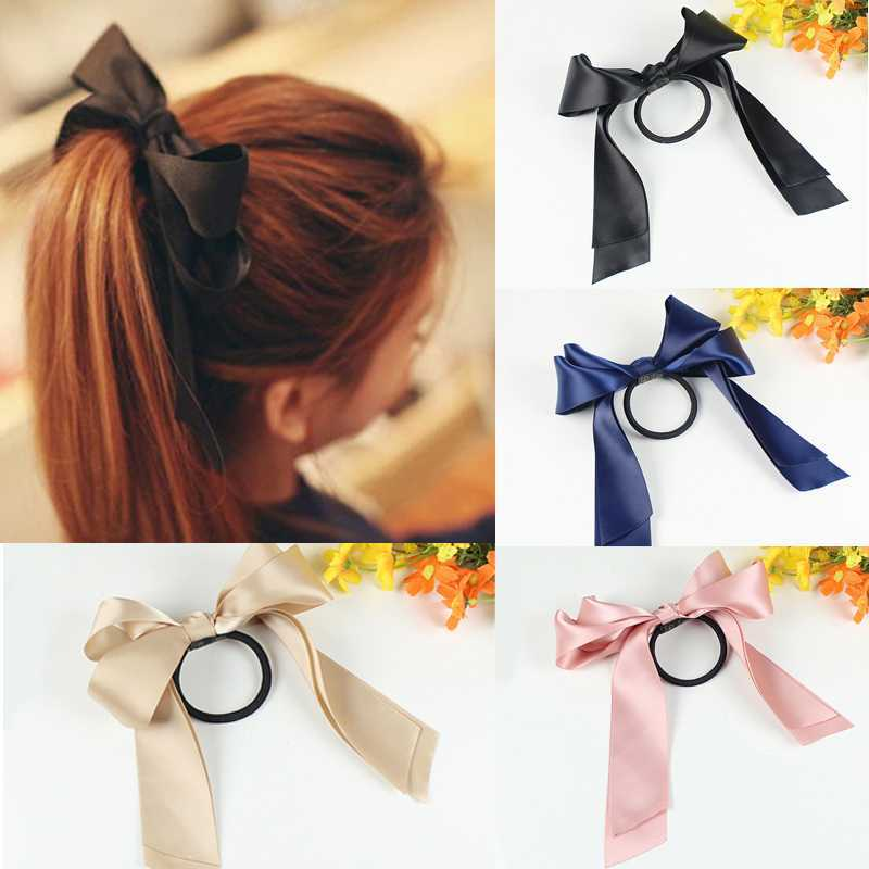 2014 New Nice Hair Accessories Ribbon Bowknot Elastic Hair Band for Women Free shipping 1piece(China (Mainland))