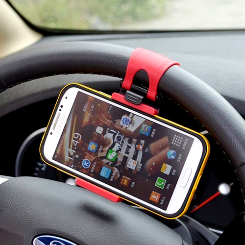 Car Steering Wheel Mount phone Holder Rubber Band For iPhone MP4 GPS Mobile Phone Holders(China (Mainland))