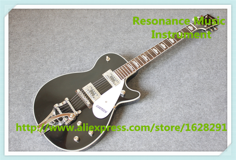 Chinese Glossy Black G6128T-GH George Harrison Signature Duo Jet Electric Guitar With Bigsby For Sale(China (Mainland))