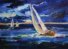 Modern paintings hand painted canvas knife oil painting of seascape sailboat(China (Mainland))