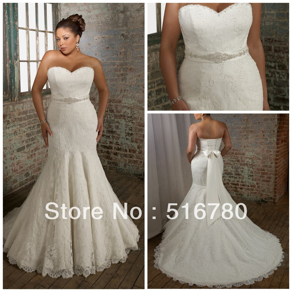 Plus size lace mermaid wedding dresses for Plus size wedding dresses mermaid style