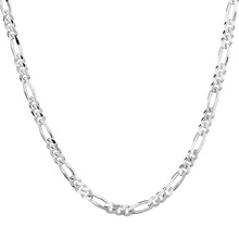 NEC007 Figaro Chain Necklace Men or Women for Christmas Gift, Silver Plated Necklace Jewelry Accessories,2mm Wholesale
