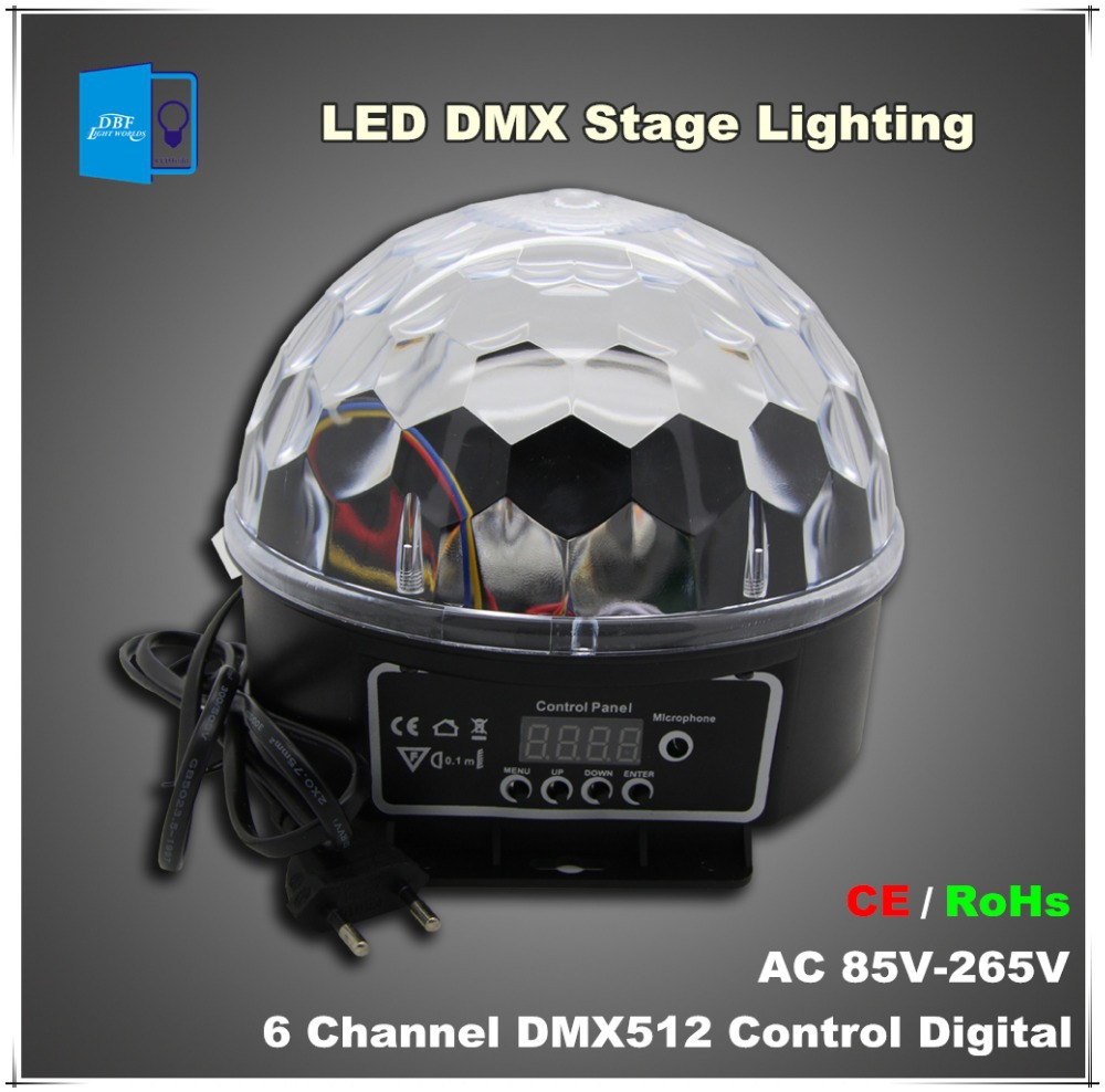 [DBF] wholesale 6 Channel DMX512 Control Digital LED RGB Crystal Magic Ball Effect Light DMX Disco DJ Stage Lighting wholesale(China (Mainland))