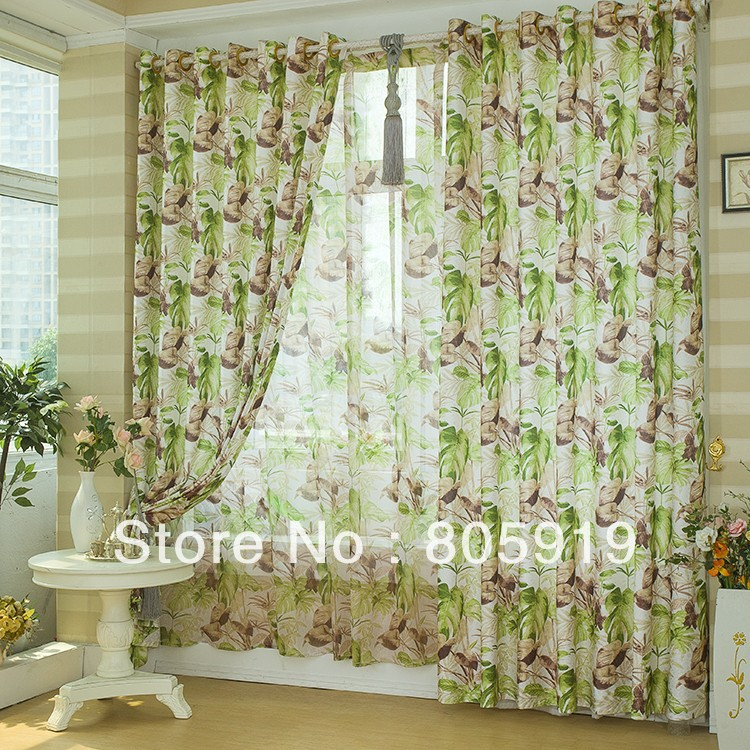 Living Room Curtains Cheap : Free Shipping Green Floral Curtains For Living Room On ...