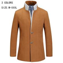 2015 winter men's mix thin stylish winter coat Single  breasted Trench coat jacket loose-fitting slim Fit Trench coat YY 160(China (Mainland))
