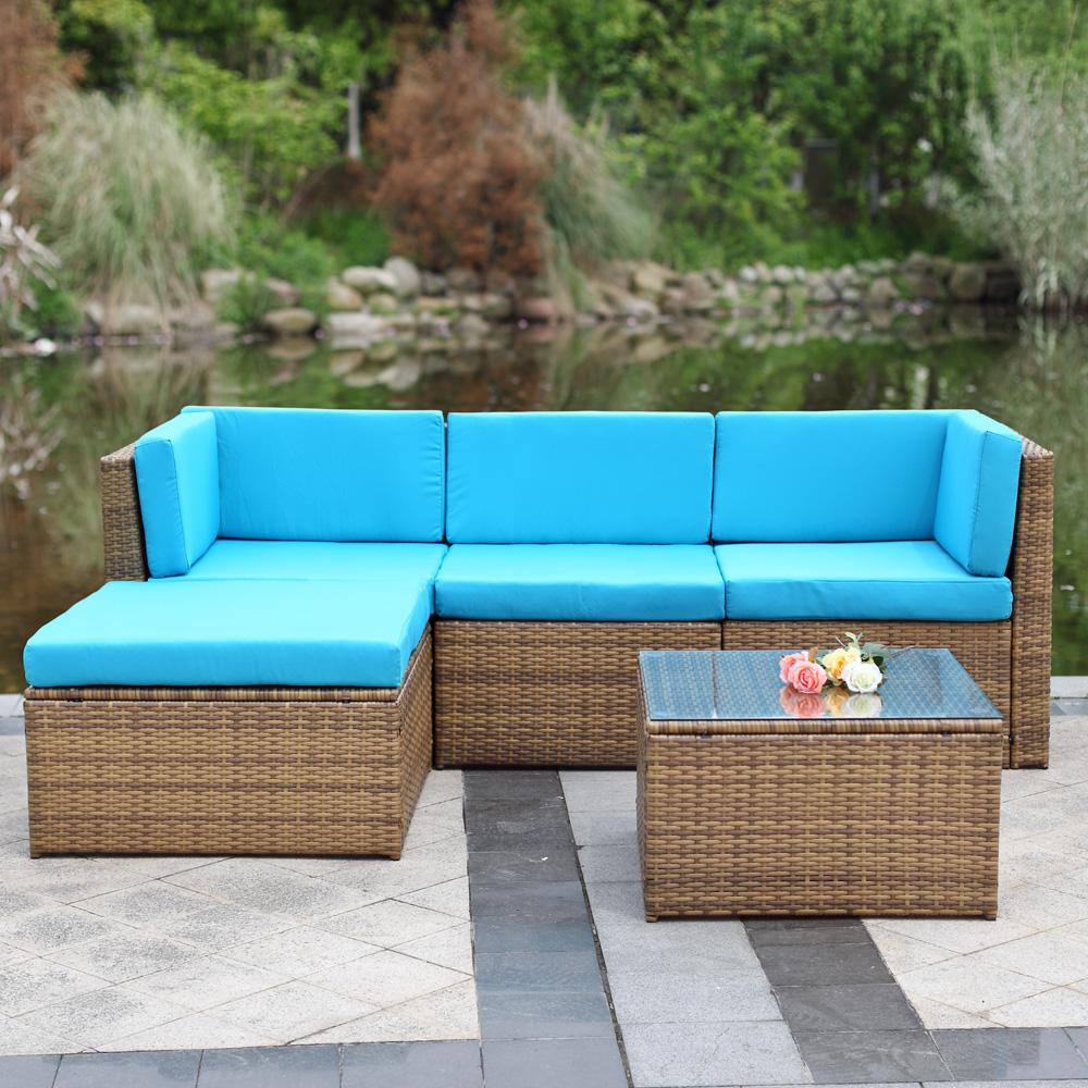 Uk stock ikayaa 5pcs patio garden furniture sofa set for Sofa rattan jardin