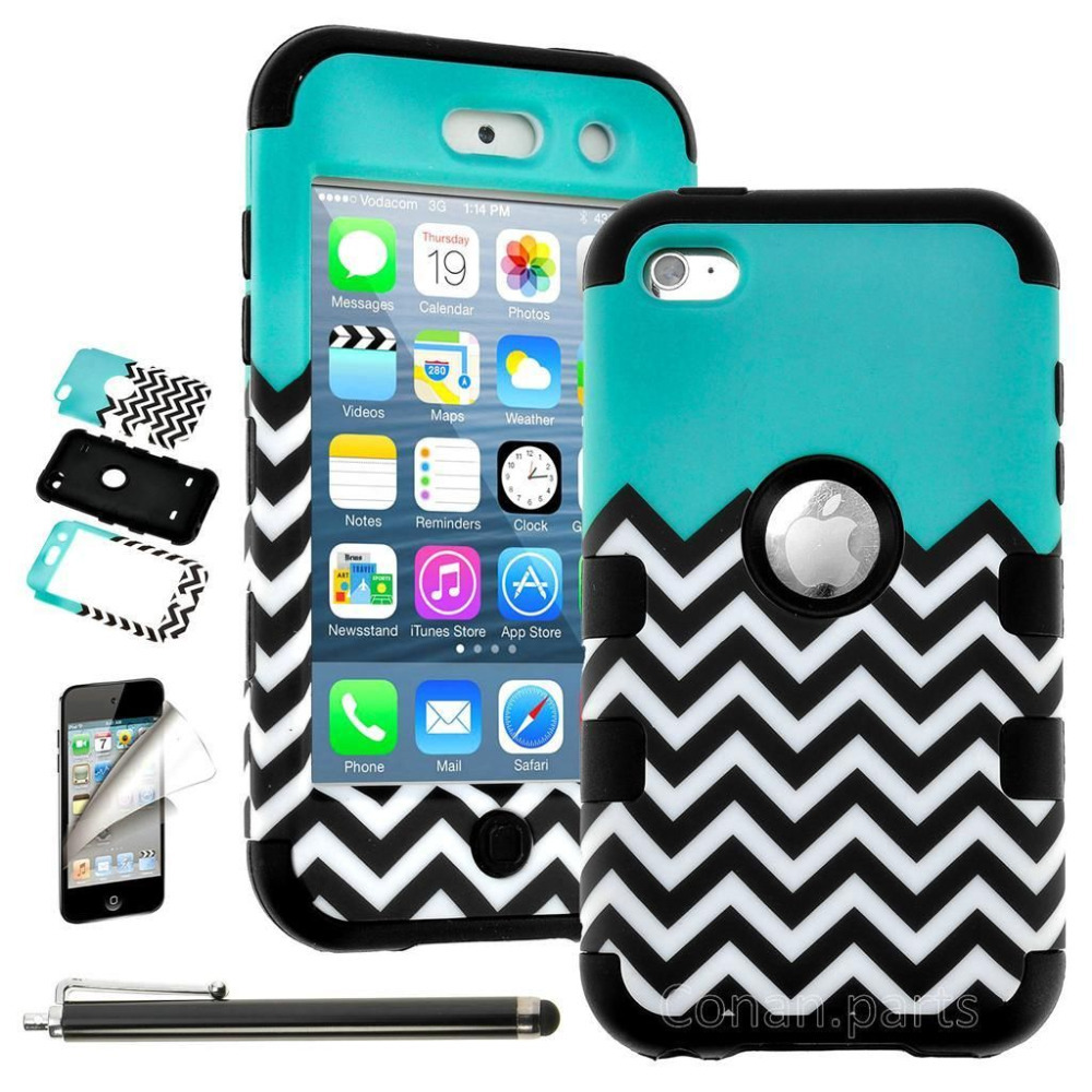Case For iPod Touch 4th Gen -HARD & SOFT RUBBER HIGH IMPACT Skin CASE HYBRID COVER SHELL(China (Mainland))