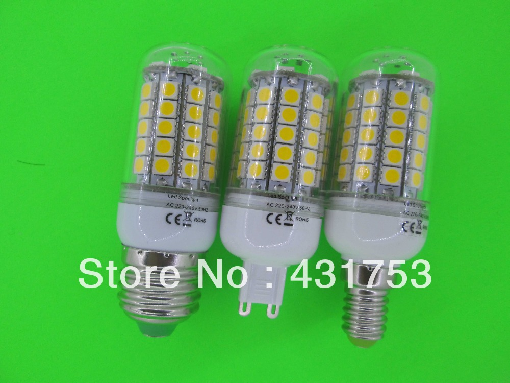 HOT 12W E27 E14 G9 69 LED 5050 SMD LED Corn Bulb Cold white / Warm White 360 Degree Light Bulb Lamp Energy Saving(China (Mainland))
