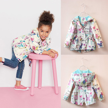 2016 New Spring Cute Baby Girl Coat Print Cartoon Graffiti Hooded Zipper Girl Jacket Full Sleeve Toddler Girl Outerwear(China (Mainland))