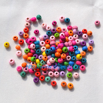 500pcs In A Lot DIY Jewelry Findings 5*6MM Round Shape Beads Mix Color Wooden Beads Bracelet Department