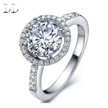 white gold plated round luxury rings vintage CZ diamond jewelry Engagement wedding ring for women bague accessories dd038