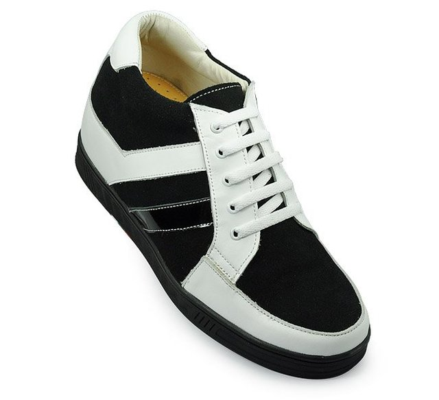 9094 - Black Sport height increase platform shoes with pig leather lining lift men's height 7CM and comfortable+Free Shipping