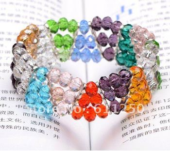 Factory Promotion: Direct Factory Promotion  Hand-knitted Women's crystal Bracelet 2012 Latest Style Flated Beads Bracelet