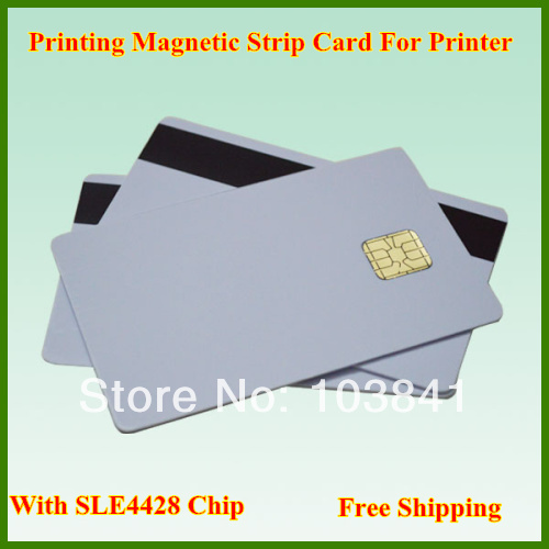 free shipping retail Printing Magnetic Strip Card with SLE4428 Chip,PVC Composite Card for Epson / Canon inkjet Printer(China (Mainland))