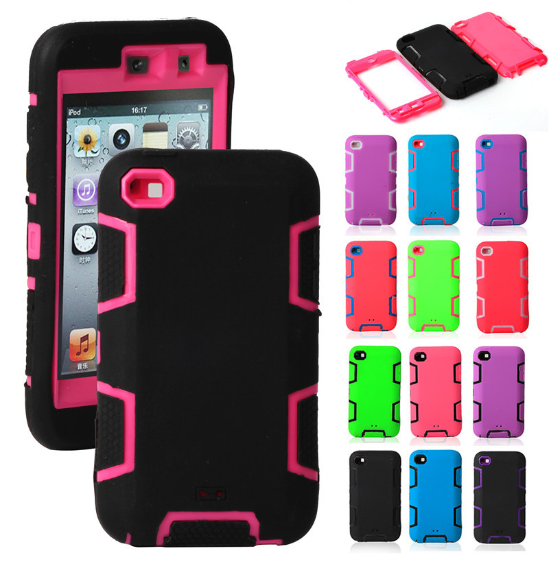 For iPod Touch 4 Case Hybrid 3 in 1 Robot Case Double Layers Soft Silicone+PC Rugged Back Cover For Apple iPod Touch 4 4G 4TH(China (Mainland))