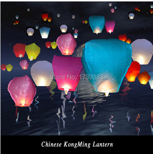 20Pcs/lot DIY 9 Colors Chineses Sky Paper Lanterns Lamps Flying Wishing Lantern Decor For Outdoor Party Decoration Balloon UFO(China (Mainland))