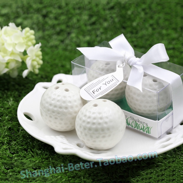 100pcs=50box Golf Ball Salt and Pepper Shaker Wedding Favors Party Giveaways BETER-TC030(China (Mainland))