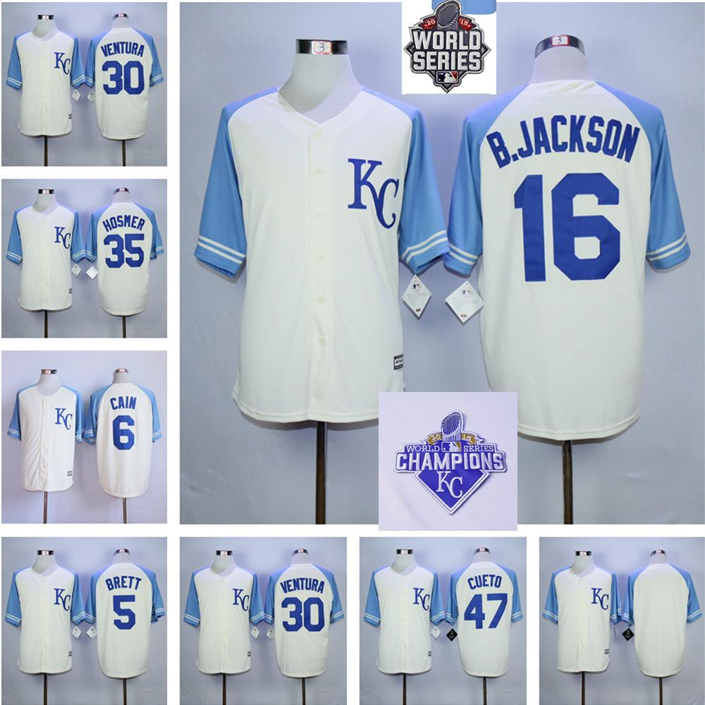 Bo Jackson Royals Jersey  Kansas City Royals Jersey Lorenzo Cain Eric Hosmer Alex Gordon Mike Moustakas Salvador Perez Jersey