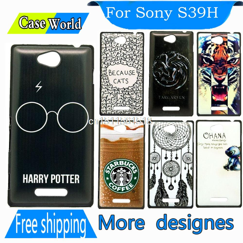 Case For Sony For Xperia C CN3 S39h C2305 Cover Custom Skin Harry Potter Glasses Black Back Beauty Painting Hard Plastic(China (Mainland))