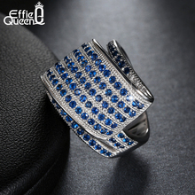 New Arrival Unique 114 Micro Blue Zircon Pave Setting Finger Ring Wedding Party Elegant Fashion Jewelry DAR033(China (Mainland))