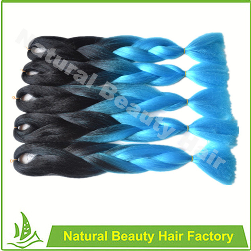 Free ship!Ombre expression black&light blue braiding hair 24'' 100g synthetic high temperature fiber jumbo braid hair extension(China (Mainland))