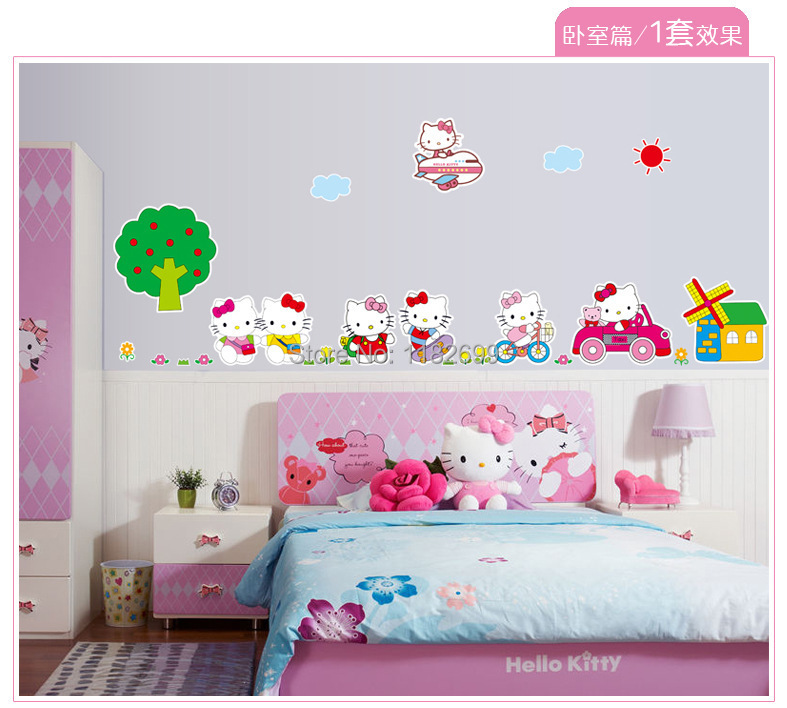 Very Popular Fashion Lovely Hello Kitty Catoon wall Stickers For Kids Room Girls(China (Mainland))